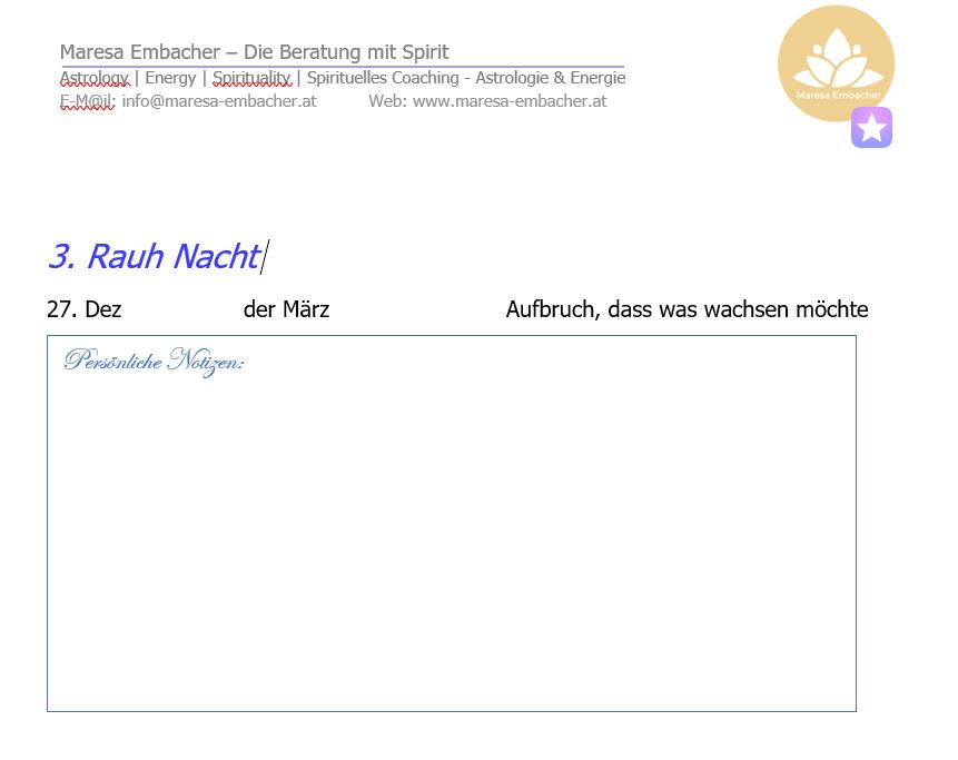 Rauhnacht Tagebuch 2020